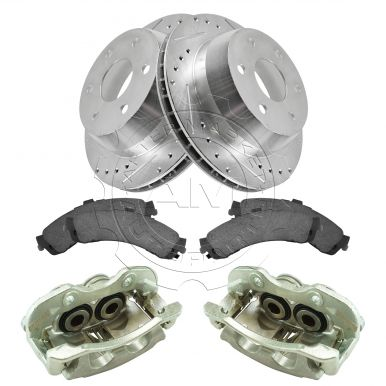 New Disc Brake Caliper Posi Ceramic Pad /& Performance Rotor Rear Kit for Chevy